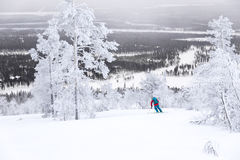 Skiing above the Arctic Circle. Skiing through frozen trees in Levi Finland Stock Photo