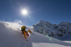Skiing accident. Powder accident in snow powder Stock Photo