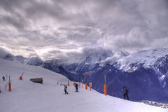 Skiing in Alpes Royalty Free Stock Photos