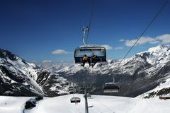 Skiing in Alps Stock Photos