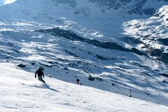 Skiing in Alps Royalty Free Stock Image