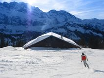 Skiing in Alps Stock Image