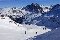Skiing in the Alps Stock Image
