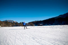 Skiing in Alps Royalty Free Stock Photography