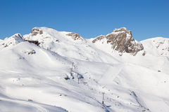 Skiing in alps. Slope on the skiing resort Flumserberg. Switzerland Stock Photography