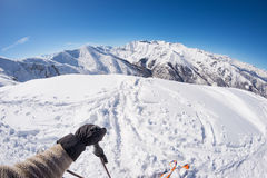 Skiing on the Alps, subjective personal view, fisheye lens Royalty Free Stock Photo