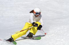 Skiing in the Alps. Young girl is skiing in Solden, Austria stock images