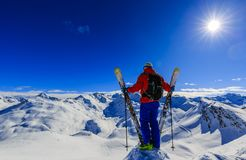 Skiing with amazing view of swiss famous mountains in beautiful Stock Images