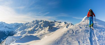 Skiing with amazing view of swiss famous mountains in beautiful Stock Photography