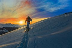 Skiing with amazing view of swiss famous mountains in beautiful Royalty Free Stock Photography