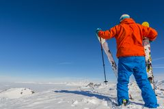 Skiing with amazing view of swiss famous mountains in beautiful Royalty Free Stock Images