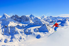 Skiing with amazing view. Stock Photography