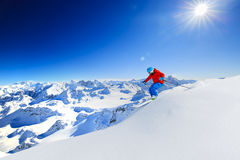 Skiing with amazing view. Royalty Free Stock Photo