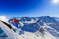 Skiing with amazing view of swiss famous mountains in beautiful winter snow Mt Fort. The matterhorn and the Dent d `Herens. In th stock photos