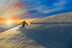 Skiing with amazing view of swiss famous mountains in beautiful Stock Photos