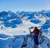 Skiing with amazing view of swiss famous mountains in beautiful winter snow Mt Fort. The matterhorn and the Dent d`Herens. In th royalty free stock photography