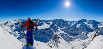 Skitouring with amazing view of swiss Alps stock photo