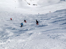 Skiing area in the Alps Stock Image