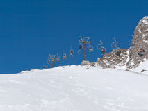 Skiing area in the Alps Royalty Free Stock Image