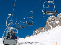 Skiing area in the Alps Royalty Free Stock Images