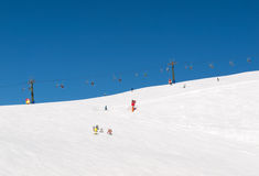 Skiing area in the Dolomites Alps. Stock Photo