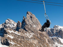 Skiing area in the Dolomites Alps. Stock Image