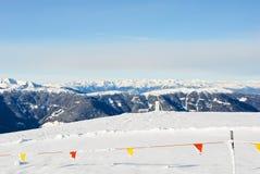 Skiing area on snow mountain in Dolomites, Italy Royalty Free Stock Photo