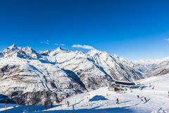 Skiing area in Zermatt Stock Photos