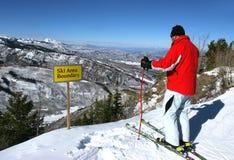 Skiing in Aspen, Colorado. Skier on the slope of Aspen ski resort near ski area boundary Aspen, Colorado Stock Photography