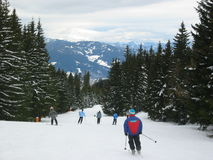 Skiing in Austria. Ski slope in Austria royalty free stock photography