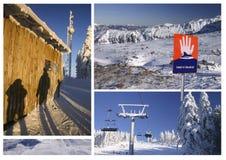 Skiing in Austria, Europe. Collage of winter pictures taken in Hochficht and Hinterstoder (Austria Stock Image