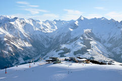 Skiing in the Austrian Alps. Saalbach, Tirol Royalty Free Stock Images