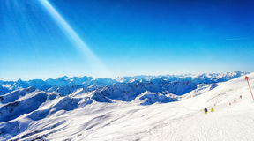 Skiing in the austrian alps Stock Image