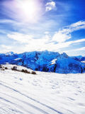Skiing in the austrian alps. On a sunny day Royalty Free Stock Photo