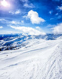 Skiing in the austrian alps. On a sunny day Stock Photography