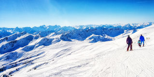 Skiing in the austrian alps Stock Images
