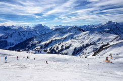 Skiing in the austrian alps. On a sunny day Royalty Free Stock Photos