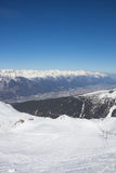 Skiing At Axamer Lizum With View To Innsbruck In Tyrol Austria Stock Images
