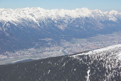 Skiing At Axamer Lizum With View To Innsbruck In Tyrol Austria Stock Image