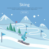 Skiing Banner. Skier on Snowy Sope. Way in Hills Stock Photos