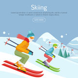 Skiing Banner. Skiers on Snowy Slope Competition. Stock Photography