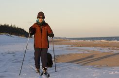 Skiing at the Beach Royalty Free Stock Photography