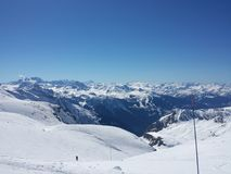 Beautiful French Alps white snow skiing nature enjoy, look March royalty free stock photography