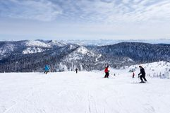 Skiing on The Big Mountain at Whitefish, Montana Royalty Free Stock Photo