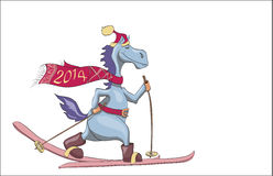 Skiing blue New Years horse. 2014. Symbol of new year 2014 - blue horse with red scarf and hat of Santa Claus skiing on isolated white background. Drawing Royalty Free Stock Images