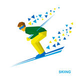 Skiing. Cartoon skier in green and yellow running downhill. Stock Photos