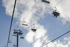 Skiing chair lift Royalty Free Stock Photo