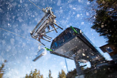Skiing chairlift in the snow Royalty Free Stock Image