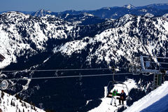 Skiing Chairlift Snow Ridges Crystal Mountain Stock Photos