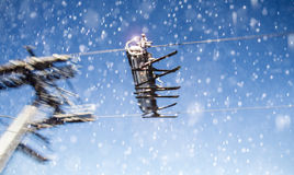 Skiing chairlift in the snow Royalty Free Stock Photos